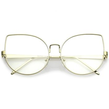 Women's Oversize Metal Cat Eye Glasses With Clear Flat Lens 63mm