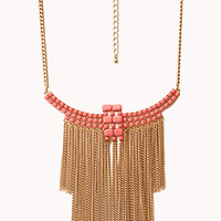 FOREVER 21 Boho Babe Fringe Bib Necklace Pink/Gold One