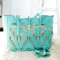 Terrific Detailed Teal Handbag