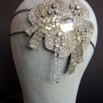JAZZ BABY Chain Headpiece with 1930s Rhinestone Beaded Applique - Rhinestone Headpiece - 1920s Headdress Flapper Headband