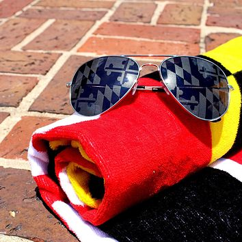 Maryland Flag (Greyscale)  / Aviator Shades