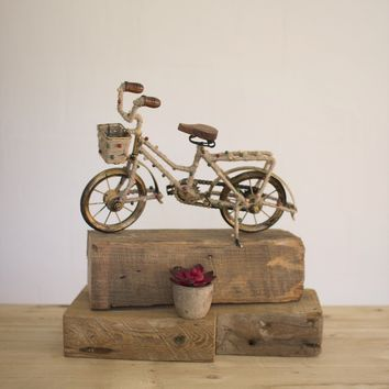 Decorative Beaded Bicycle w/basket & Antique Brass Frame