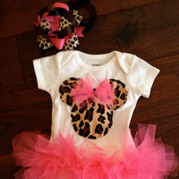 Cheetah Minnie Mouse Onesuit tutu