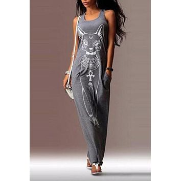 Egyptian Cat Print Long Maxi Evening Party Dress
