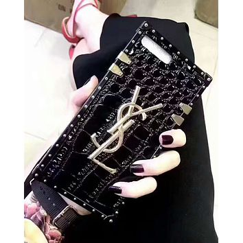 YSL tide brand couple models crocodile shell iphone7plus all-inclusive soft shell protective cover black