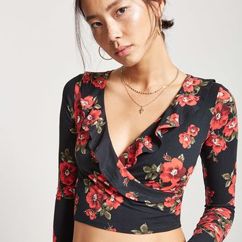 Floral Surplice Ruffle Crop Top