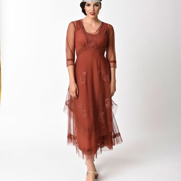 1930s Vintage Style Tan Tulle Sleeved Long Dress