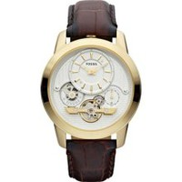 Fossil Grant White Dial Brown Leather Mens Watch ME1127