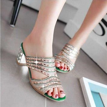 Women Rhinestone Fashion Open Toe Mules Slipper Shoes Block Mid Heel Sandals