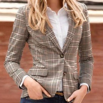 Plaid Long Sleeve Patch Blazer with Button