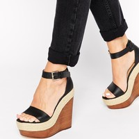London Rebel Mega Platform Wedge Heeled Sandals