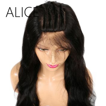 ALICE 150 Density Pre Plucked Full Lace Human Hair Wigs With Baby Hair Remy 12-24 Brazilian Wigs For Black Women Bleached Knots