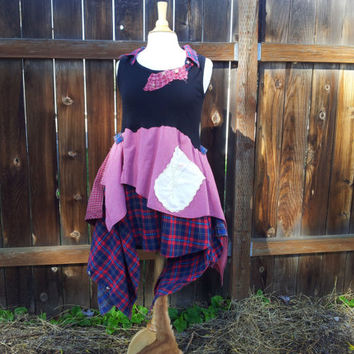 Upcycled Clothing / Funky Eco Tunic Dress / Lagenlook dress / Flannel Tunic /  Upcycled Plaid Tunic Dress / Small / Medium