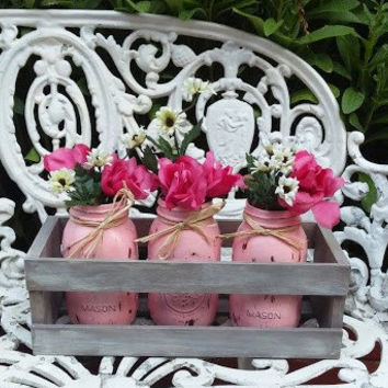 Shabby Chic Rustic Painted & Distressed 3 Mason Jars wood container centerpiece, country mason jar, rustic wedding decor, rustic home decor