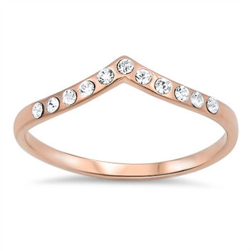 925 Sterling Silver CZ Rose Gold-Tone Plated Stackable Tiara Ring 4MM
