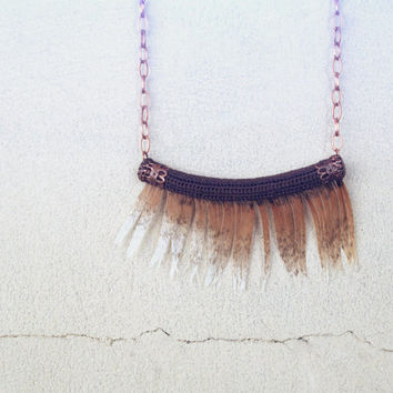 Tribal Necklace - Feather Necklace - Copper Brown Fringe - Exotic Jewelry