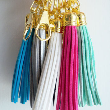 White Leather Tassel Key Ring - Suede Tassel Key Chain - Purse Tassel - Gold And White Key Fob - Leather Fringe - Key Chain With Split Ring