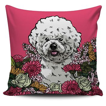 Illustrated Bichon Frise Pillow Cover