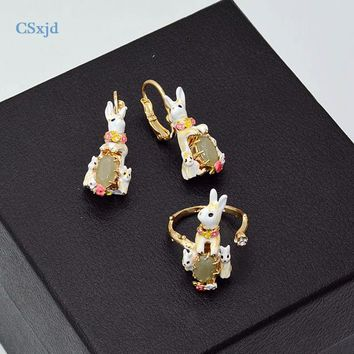 CSxjd Enamel glaze Cute Rabbit mother baby Birdie  earrings hanging Ring Women Jewe