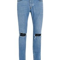 Mid Wash Ripped Stretch Skinny Jeans - Topman