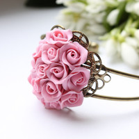 Tender Bracelet with Pink Rose  free shipping by eteniren on Etsy