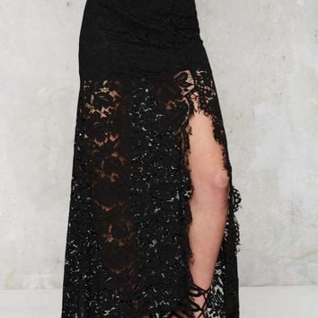 Cut to the Lace Maxi Skirt - Black