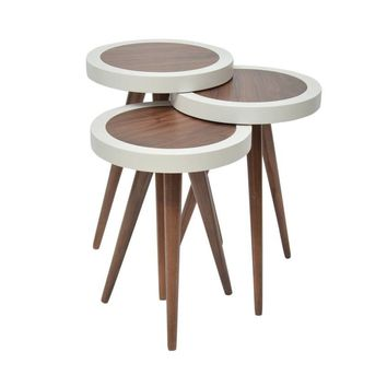 "TV Tray, Coffee Table Round Walnut Wood outside White Color 3 pcs.15""X15""X H:24"""
