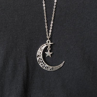 moon necklace,moon necklace,crescent moon necklace,Silver hollow star galactic cosmic moon necklace,galaxy necklace,long necklace