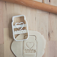 Custom Wedding Date Mason Jar Cookie Cutter (3D printed)