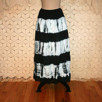 Long Hippie Skirt Hippie Boho Skirt Stripe Tie Dye Skirt Maxi Skirt Bohemain Skirt Casual Cotton Skirt Beach Skirt Large XL Womens Clothing