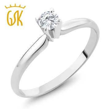 14K White Gold Moissanite Ring 4mm 0.25ct Engagement Solitaire Ring