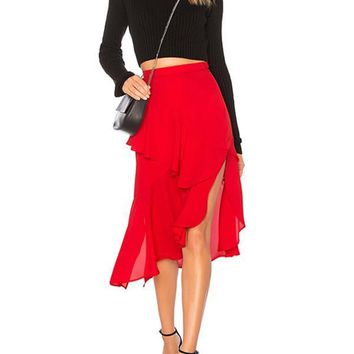 New Red Cascading Ruffle Irregular Slit Side High Waisted Vintage Casual Fashion Midi Skirt