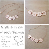 Four Initial Disc Hand Stamped Rose Gold Filled Necklace  Four Initial Necklace  Rose Gold Necklace - Mother Necklace - Initial Disc Jewelry