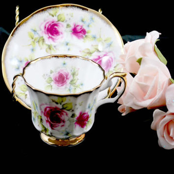 Cup of Tea and Saucer Pink Roses Gold England  Bone China  , Vintage Tea Set