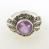 Art Deco Amethyst and Marcasite Ring, Vintage Sterling Silver Size 7