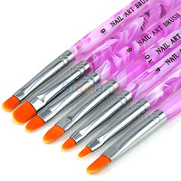 New UV Gel Acrylic Nail Art Builder Brush Pen Painting Nail Art Dotting Tool Set (7 pcs) Fast Shipping 00J6