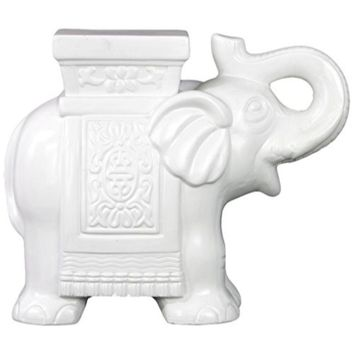 Ceramic Trumpeting Elephant With Cornice Large Matte