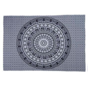 Bohemian Round on Square Grey/Black Hippie Tapestry/Throw/Table Cloth/Window Covering/Yoga Mat etc..... Round 150cm/59.0""