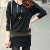 Black Long Sleeve Round Collar Mini Dress