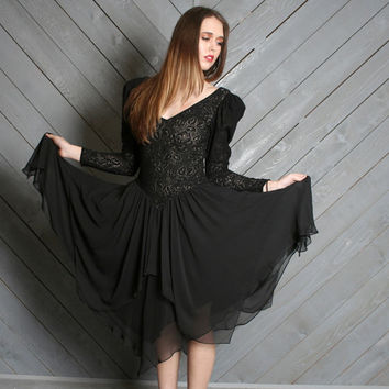 80s Stevie Nicks DRESS / Black Lace & Sheer Layered Skirt, xs-m