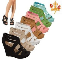 NEW Women High Heel Sexy Gladiator Wedge Sandal Open Toe Platform Pump Shoes