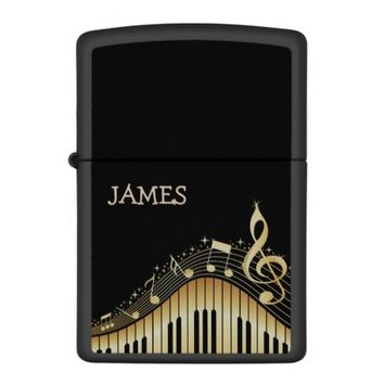 Black And Gold Music Notes Design Zippo Lighter