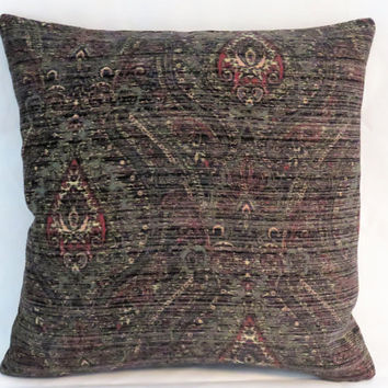 "Paisley Chenille Tapestry Pillow, 17"" Sq, Black Grey Red Green Medallion, Weathered Distressed, Cover Only or Insert Included, Ready Ship"