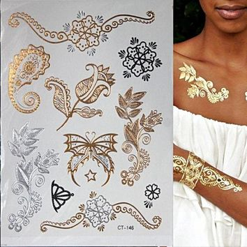 Temporary Tattoo Gold Colour Or Silver Tatoo For Women ✈ Worldwide Delivery