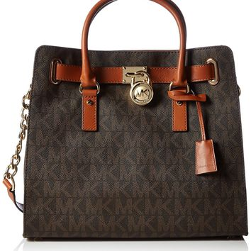 Michael Kors Womens Textured Signature Tote Handbag