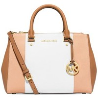 MICHAEL Michael Kors Medium Sutton Center Stripe Satchel in Nude White Peanut