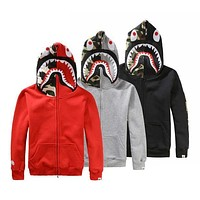 Gotopfashion Bape Fashion Women Men Zipper Shark Print Hoodies Unisex Sweater Lovers Coat I