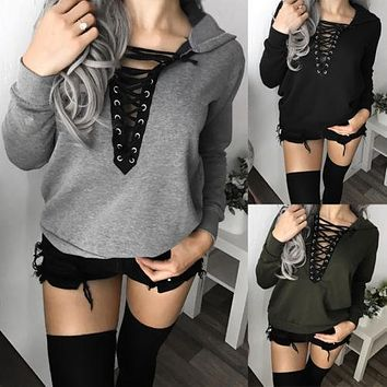 New Fashion Women Clothing Long Sleeve Hoodie Ladies Sweatshirt Jumper Hooded Pullover Eyelet Lace up Tops Cotton Casual