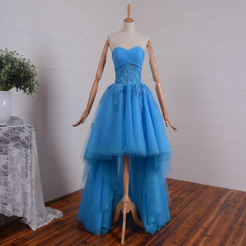 2016 Hot Sale Blue High Low Prom Dress Celebrity Dress Sheer Waist Tulle Lace Appliqued Girl Party Dresses Homecoming Gown TYF08