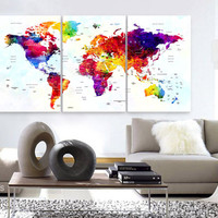 "LARGE 30""x 60"" 3 Panels Art Canvas Print Watercolor Map World Push Pin Travel cities Wall colorfull  decor Home interior (framed 1.5"" depth)"
